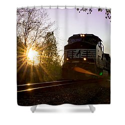 Norfolk And Southern At Sunset Shower Curtain