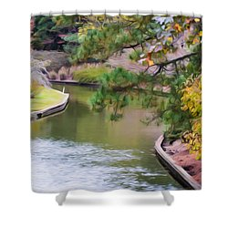 Norfolk Botanical Gardens Canal 7 Shower Curtain by Lanjee Chee