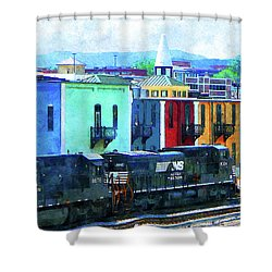 Norfolk Southern 8324 And 8676 Locomotives Shower Curtain