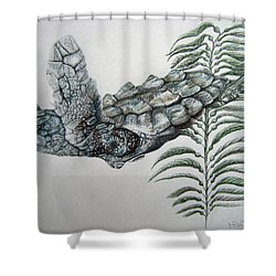 Shower Curtain featuring the drawing Norman Blue by Mayhem Mediums