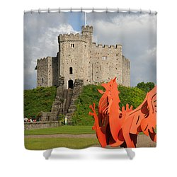 Norman Keep Cardiff Castle Shower Curtain by Jeremy Voisey