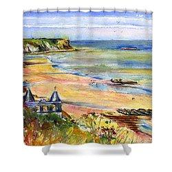 Normandy Beach Shower Curtain by John D Benson