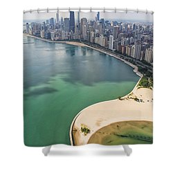 North Avenue Beach Chicago Aerial Shower Curtain by Adam Romanowicz