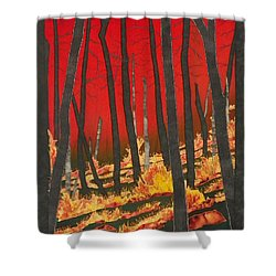 North Carolina Forests Under Fire II Shower Curtain by Jenny Williams