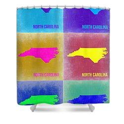 North Carolina Pop Art Map 2 Shower Curtain by Naxart Studio