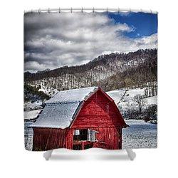 North Carolina Red Barn Shower Curtain by John Haldane