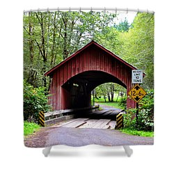 North Fork Yachats Covered Bridge Shower Curtain
