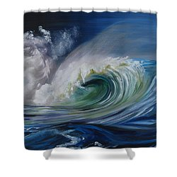Shower Curtain featuring the painting North Shore Curl by Donna Tuten