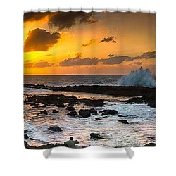 North Shore Sunset Crashing Wave Shower Curtain
