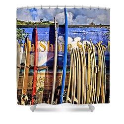 North Shore Surf Shop Shower Curtain by DJ Florek