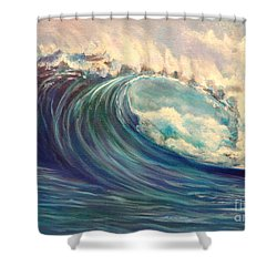 Shower Curtain featuring the painting North Whore Wave by Jenny Lee