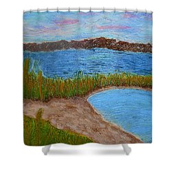 Shower Curtain featuring the painting North Wildwood   New Jersey by Joan Reese