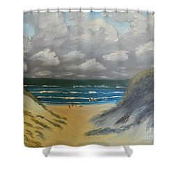 Shower Curtain featuring the painting North Windang Beach by Pamela  Meredith