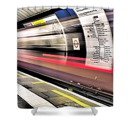 Northbound Underground Shower Curtain by Rona Black