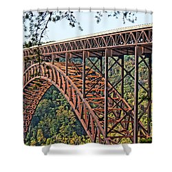 Northeast Close-up Of New River Gorge Bridge Shower Curtain by Timothy Connard