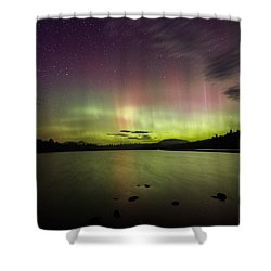 Northern Lights Over Ricker Pond Shower Curtain
