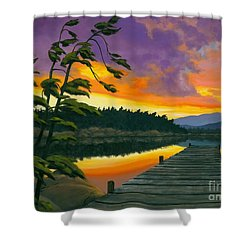 Shower Curtain featuring the painting After Glow - Oil / Canvas by Michael Swanson