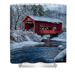 Northfield Vermont Covered Bridge Shower Curtain