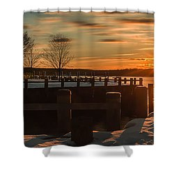 Northport New York Winter Sunset Shower Curtain
