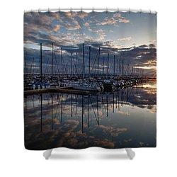 Northwest Marina Sunset Sunstar Shower Curtain by Mike Reid