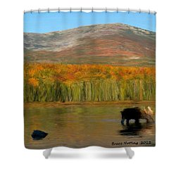 Shower Curtain featuring the painting Northwest Moose by Bruce Nutting