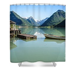 Reflection Of A Boat And A Boathouse In A Fjord In Norway Shower Curtain
