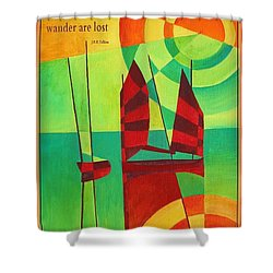 Not All Who Wander Are Lost Chinese Junks On Still Waters Shower Curtain