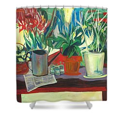 Not Your Grandpa's Potting Stand Shower Curtain