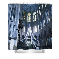 Notre Dame Altar Teal Paris France Shower Curtain