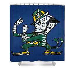 Notre Dame Fighting Irish Leprechaun Vintage Indiana License Plate Art  Shower Curtain by Design Turnpike