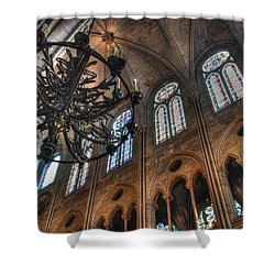 Notre Dame Interior Shower Curtain by Jennifer Ancker