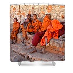 Novice Buddhist Monks Shower Curtain