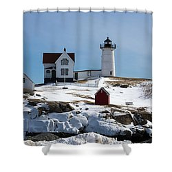 Nubble Light 2 Shower Curtain by Kevin Fortier