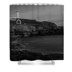 Nubble Light At Sunset Bw Shower Curtain by Susan Candelario