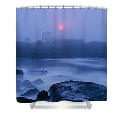 Nubble Light In Foggy Dawn Shower Curtain