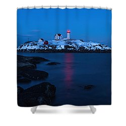 Nubble Light Reflections Shower Curtain by Sharon Seaward