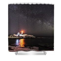 Nubble Light With Milky Way Shower Curtain