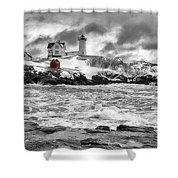 Nubble Lighthouse After The Storm Shower Curtain by John Vose