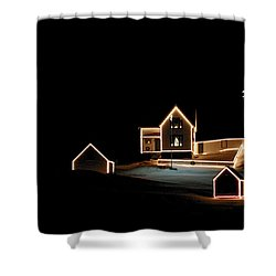 Nubble Lighthouse Christmas Lights Shower Curtain