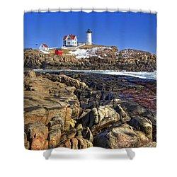 Nubble Lighthouse Shower Curtain by Joann Vitali