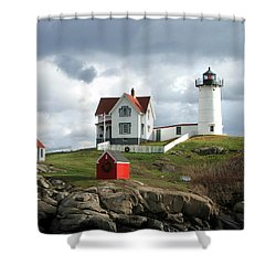 Nubble Lighthouse Shower Curtain by Nancy Landry