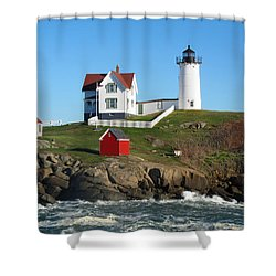 Nubble Lighthouse One Shower Curtain by Barbara McDevitt