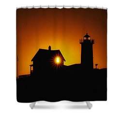 Nubble Lighthouse Sunrise Starburst Shower Curtain by Scott Thorp