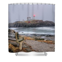 Nubble Lighthouse View Shower Curtain