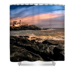 Nubble Lighthouse Winter Solstice Sunset Shower Curtain by Bob Orsillo