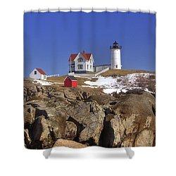 Nubble's Rocky Coastline Shower Curtain by Joann Vitali