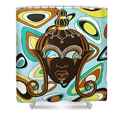 Shower Curtain featuring the painting Nubian Modern  Mask by Joseph Sonday