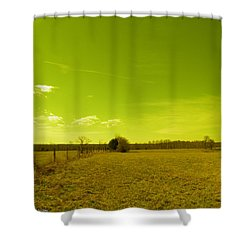 Shower Curtain featuring the photograph Nuclear Fencerow by Nick Kirby
