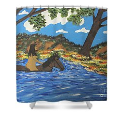 Shower Curtain featuring the painting Nude And Bareback Swim by Jeffrey Koss