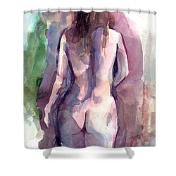 Shower Curtain featuring the painting Nude by Faruk Koksal